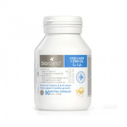 BioIsland Cod Liver + Fish Oil Kids 90 Capsules 生物岛 鳕鱼油鱼肝油 促进幼儿脑部发育 90粒