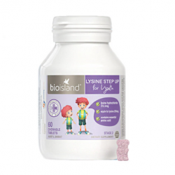 Bioisland Lysine Step Up for Youth 60 Chewable tablets 生物岛 黄金助长素  6-24岁适用(二段) 60片 黑加仑味